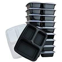 ChefLand 3-Compartment Microwave Safe Food Container with Lid, Divided Plate, Bento Box and Lunch Tray with Cover, Black, 12-Pack