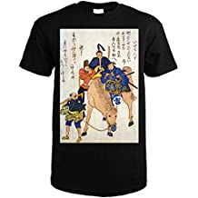 Lantern Press Two Japanese Men and a Foreigner Riding On a Horse Japanese Wood-Cut Print (Black T-Shirt XX-Large)