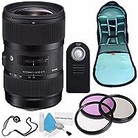Sigma 18-35mm f/1.8 DC HSM Art Lens for Canon (International Model) No Warranty + 72mm 3 Piece Filter Kit + Deluxe Cleaning Kit + SLR Camera Sling Bag Bundle
