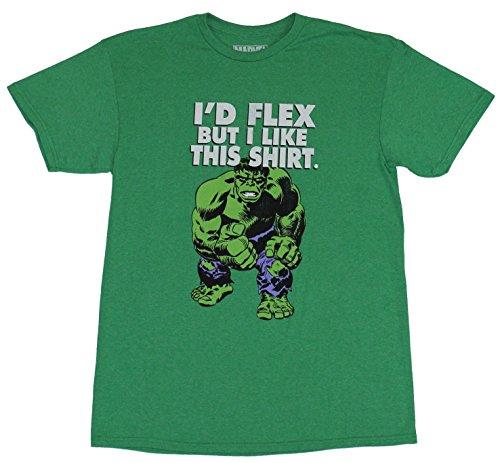 hulk+flex Products : Hulk (Marvel Comics) Mens T-Shirt - I'D Flex Bit I Like This Shirt Standing Hulk
