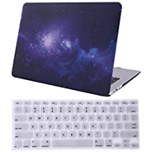 """HDE MacBook Air 13"""" Case Galaxy Space Pattern Designer Hard Shell Rubber Coated Plastic Cover with Keyboard Skin Fits Models A1369 / A1466 (Black and Purple)"""