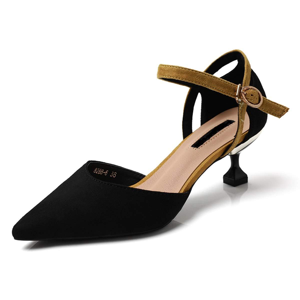 LBTSQ-high Heels 5cm schlank-Heels hohl Schnallen Ein Wort an Nahen Ferse Ferse Katze Temperament-Mode Schuhe