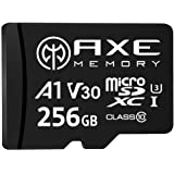 AXE MEMORY 256GB microSDXC Memory Card + SD Adapter with A1 App Performance, V30 UHS-I U3 4K