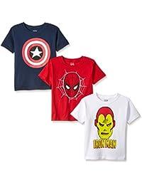 Boys' Spider Iron Man, Captain America Logo 3-Pack T-Shirt