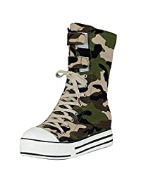 KemeKiss Women Comfortable Army Green Height Short Boots Lace Up