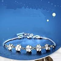 phitak shop Women 925 Sterling Silver Lucky Four Leaves Clover Trendy Chain Bracelet Jewelry