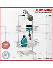 Aluminium Shower Caddy Hanging Rust Proof Organiser Bathroom Shelf Storage Hook