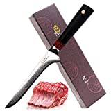 TUO Cutlery Boning Fillet Kitchen Knife- Japanese AUS10 Damascus Steel- G10 Handle- Ring D Professional Filet 6 inch