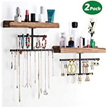 Keebofly Hanging Wall Mounted Jewelry Organizer with Rustic Wood Jewelry Holder Display for Necklaces Bracelet Earrings Ring Set of 2 (Renewed)