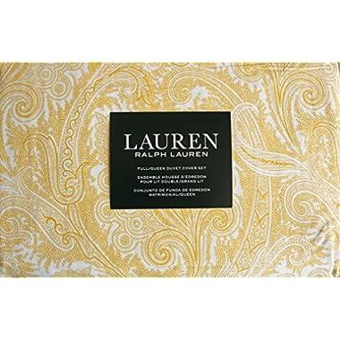Lauren Ralph Lauren Bedding 3 Piece Full / Queen Duvet Cover Set Yellow Paisley Ink Pattern on White