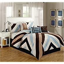 7 Pieces Luxury Micro Suede Chevron Design Brown, Blue Comforter Set / Bed-in-a-bag Queen Size Bedding