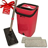 Microfiber Flat Mop and Bucket Kit with Wringer, Ergonomic Handle, Self-Cleaning System, Wet and Dry Mopping, 2 Reusable Ecofriendly Pads, Floor Cleaning