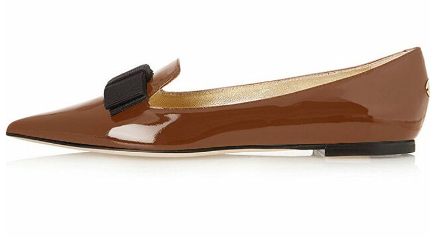 Eldof Women's Flats, Pointed Toe Flats Pumps, Patent Leather Flats Pumps, Walking Dress Office Classic Comfortable Flats B07DHLZD17 13 B(M) US|Brown