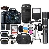 Canon EOS Rebel T7i DSLR Camera with Canon EF-S 18-135mm f/3.5-5.6 IS STM Lens + Canon EF 75-300mm f/4-5.6 III Lens + 500mm f/8 Preset Lens + Accessory Bundle