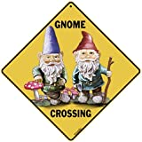 Monsety Gnome Crossing Sign Zone Xing Tall Garden Lawn Fantasy Statue Nome Dwarf Wall Decoration Metal Tin Sign for Home Garage Room Post