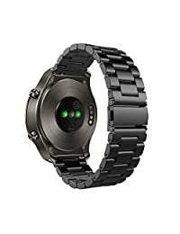 Huawei Watch 2 Classic - Titanium Grey Band, Cbin 22mm Solid Stainless Steel Metal Business Replacement Bracelet Strap for Huawei Watch 2 Classic - Titanium Grey (Metal Black)