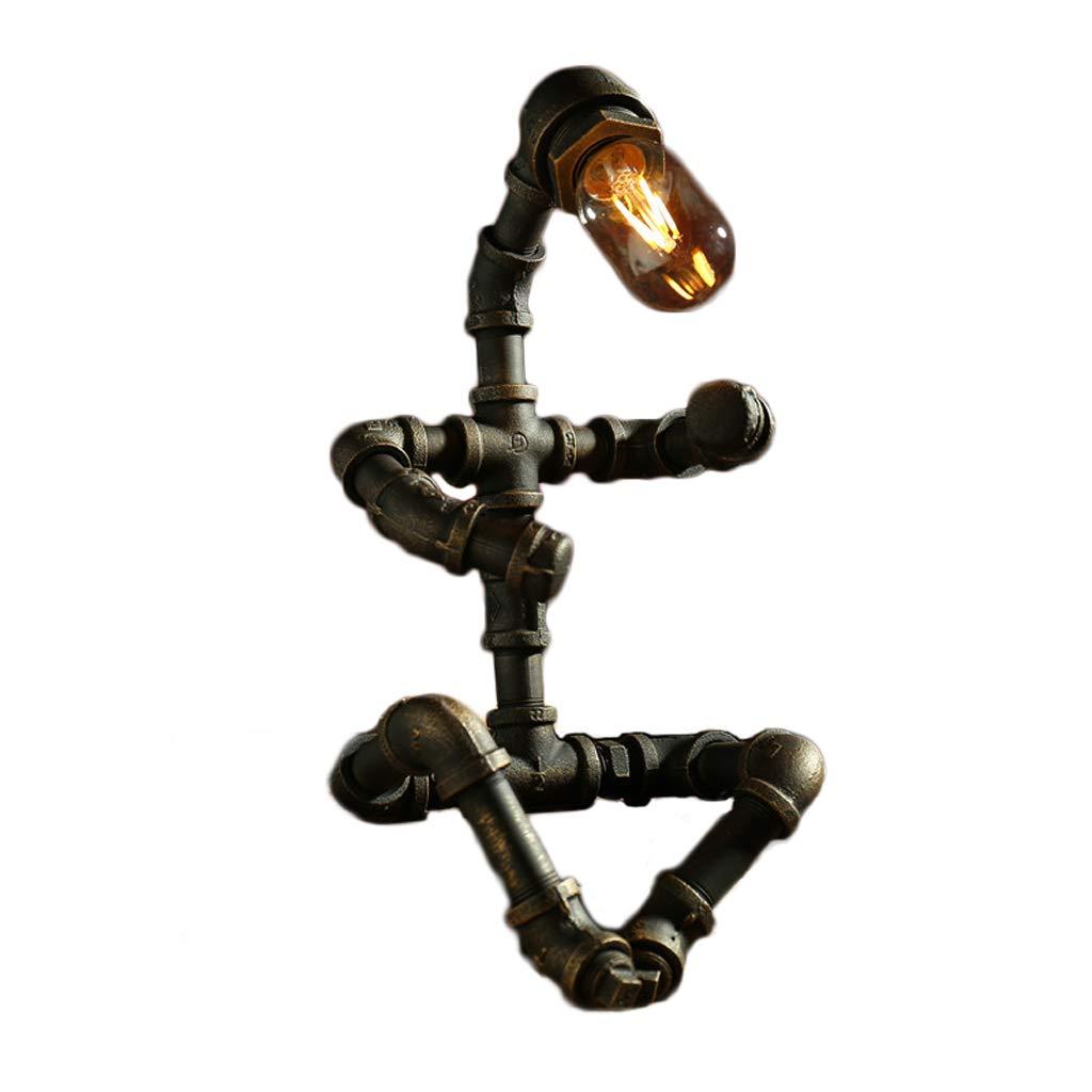 Kreative Loft Edison LED Industrielle Wind Tischlampe, Eisenrohr Roboter Tischlampe Familie Cafe Bar (Farbe   C)