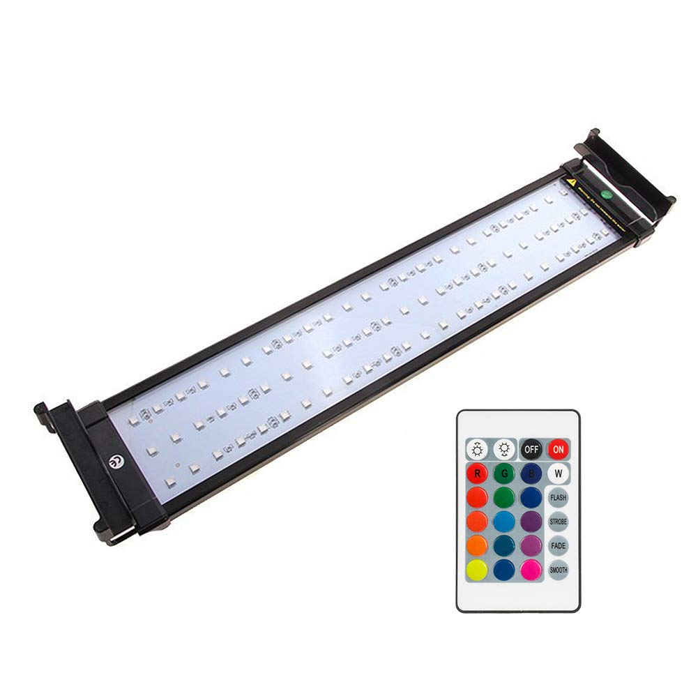 20\ NICREW RGB LED Aquarium Light, Dimmable Fish Tank Light with Remote, 20 to 24-Inch, 14 Watts
