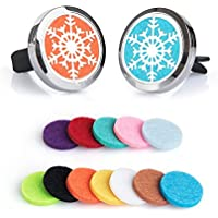 【2Pack】BRIGHTSHOW Car Fragrance Diffuser Vent Clip Car Air Freshener Perfume Clamp Aromatherapy Essential Oil Diffuser Stainless Steel Locket with Vent Clip and 10 Oil Refill Pads