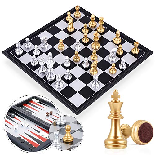 Peradix Magnetic Chess -Checkers -Backgammon 3 in 1 Set, Travel Foldable Chess Board Game- Traditional Classic Strategy Educational Toys for Kids/Children/Adults (Board Size-32.5x32.5cm)