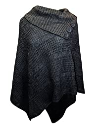 Womens Big Plus Size Cable Knitted 3 Button Cape Poncho