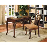 Acme 09650 2-Piece Aristocrat Writing Desk and Chair, Dark Brown Cherry Finish