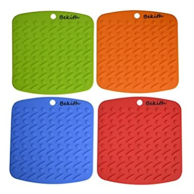 Bekith Silicone Pot Holder,trivet Mat,jar Opener,spoon Rest and Garlic Peeler (Set of 4) Non Slip,flexible,durable,dishwasher Safe,heat Resistant Hot Pads