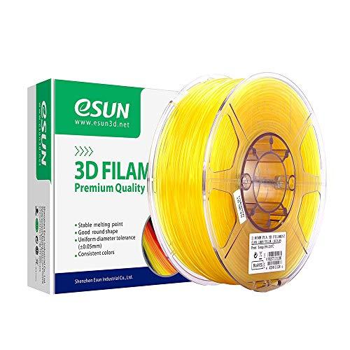 eSUN Transparent PLA Filament 1.75mm, PLA 3D Printer Filament, Dimensional Accuracy +/- 0.05mm, 1KG (2.2 LBS) Spool 3D Printing Filament for 3D Printers and 3D Pens, Yellow