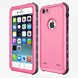 iPhone SE/5/5S Waterproof Case, iThrough Waterproof Dust Proof Snow Proof Shock Proof Phone Case, IP68 Underwater Heavy Duty Protective Carrying Case Cover with Touch ID for iPhone 5S 5 SE (Pink)