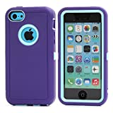 MOONCASE iPhone 5C Case, 3 Layers Heavy Duty Defender Hybrid Soft TPU +PC Bumper Triple Shockproof Drop Resistance Protective Case Cover for Apple iPhone 5C -Purple Blue