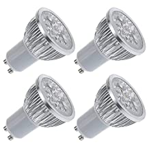 AFSEMOS GU10 4W LED Light Bulbs,Dimmable Spotlight Lamp,Track Lighting,Recessed Lighting,320Lm,20W Halogen Bulbs Equivalent,60 Degree Beam Angle,Daylight White 6000K,Pack of 4 units