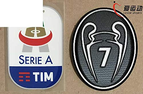 2018-19 Milan Patch Patchwork Needlework Sewing Set 2018-2019 Lega Calcio Serie A Soccer Patch+Grey 7 Times Winners Trophy 7Th ()