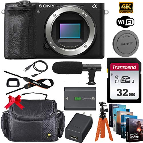 Sony Alpha a6600 Mirrorless Digital Camera 24.2MP 4K (Body Only) + 32GB Memory Card, Sturdy Equipment Carrying Case, Spider Tripod, Software Kit and More