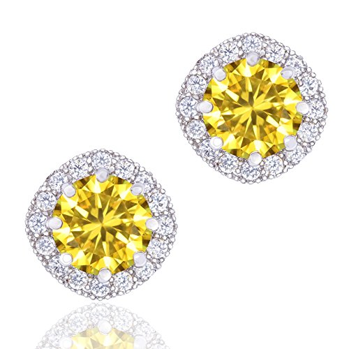 Orrous & Co Premium 18k Cubic Zirconia Earrings - Beautiful White Gold Plated Studs - 1.90 Carats Round Cut Cubic Zirconia - Cushion Shaped Gemstone Halo - Beautiful & Elegant Idea