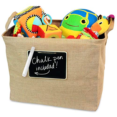 OrganizerLogic Jute Storage Basket, Chalkboard and Non Toxic Chalk Marker Included, Customizable Jute Storage Box, Organizing Toys, Shoes, Laundry, Pillows, Blankets, Pet Toys 17 x 13 x 13 ()