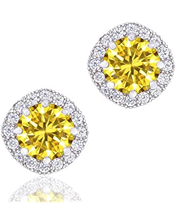 4da0bc427 ORROUS & CO Women's 18K White Gold Plated Cubic Zirconia Cushion Shape Halo Stud  Earrings (