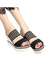 IEason-shoes Clearance Women Fish Mouth Platform High Heels Wedges Sandals Open Toe Shoes Slippers