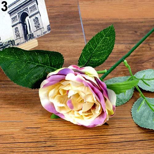 litymitzromq Artificial Flowers Fake Plants, 1Pc Romantic Faux Silk Artificial Flower Home Wedding Party Decor False Rose Faux Fake Flowers Floral Arrangement