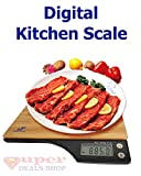 Kitchen & Housewares : Digital Kitchen Scale Food Scale Digital Food Scale Multifunction Scales Digital Weight Grams Bamboo Surface 5 kg 11 lb (Batteries Included) Super-Deals-Shop