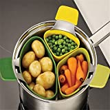 Space Saver Steam Insert Pot Divider for Veggies, 18 cm Silicone Steamer Ideal for Small Family or College Dorm