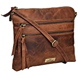 Genuine Leather Crossbody Handbag for Women - Shoulder bag for Womens Handmade by LEVOGUE (COGNAC VINTAGE)
