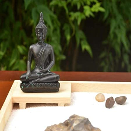 Laogg Jardin Zen Estilo Japonés Decoración De Mesa De Arena Seca Característica Hecha A Mano Regalo De Madera Maciza Micro Paisaje Oficina En Casa Zen Decoración Yoga Conjunto De Meditación De Buda: