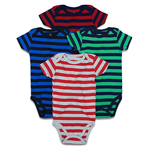 OPAWO Striped Baby Bodysuit Short Sleeve for Unisex Boys Girls 4-Pack (12-18 Months, Striped Multi 1) (Striped Onesie Bodysuit)