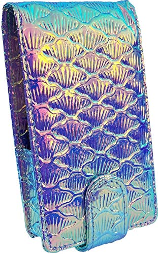 Mermaid Makeup Lipstick Case with Mirror for Purse by Glam In a Bag | Cosmetic Pouch With Mirror & Card Slot - Fits Most Popular Brands of Liquid Long Lipstick (Unicorn Rainbow)