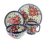 Polish Pottery Poinsettia 4 Piece Dinner Set