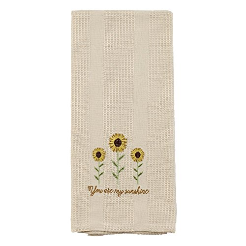 Cream You Are My Sunshine Sunflower 19 x 28 Inch Embroidered Cotton Waffle Dish Towel (Dish Country Towel)