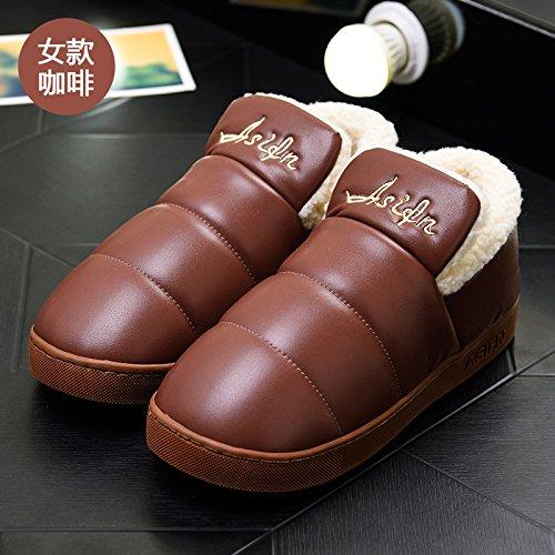 LaxBa Femmes Hommes chauds dhiver Chaussons peluche antiglisse intérieur Cotton-Padded Chaussures Slipper40-70 café correspond à 39-40