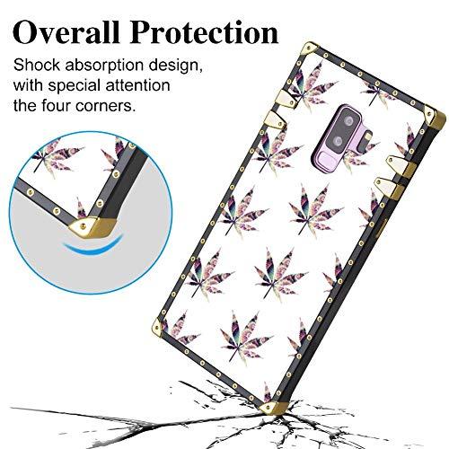 Bonoma Marijuana Leaves Flower Square Edge Case Compatible Galaxy S9 Plus (2018) (Marijuana Leaf Case)
