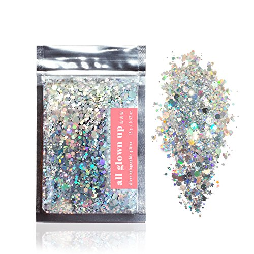 Silver Holographic Chunky Cosmetic Glitter (15g) - Great for Festivals, For Use on Face, Body, Hair, and Nails - by All Glown Up by All Glown Up (Image #9)