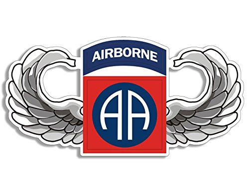 American Vinyl Wings Shaped 82nd Airborne AA Logo Sticker (Bumper Insignia)
